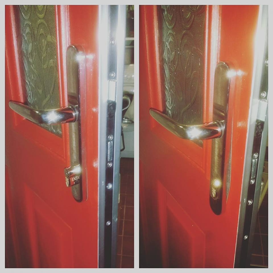 two pictures showing a euro cylinder replacement on a red composite door