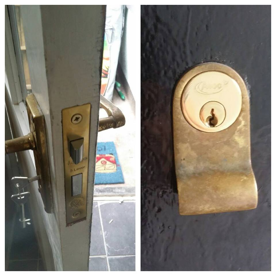 two pictures show a brass mortice sashlock in a white door and a brass rim cylinder on a black door