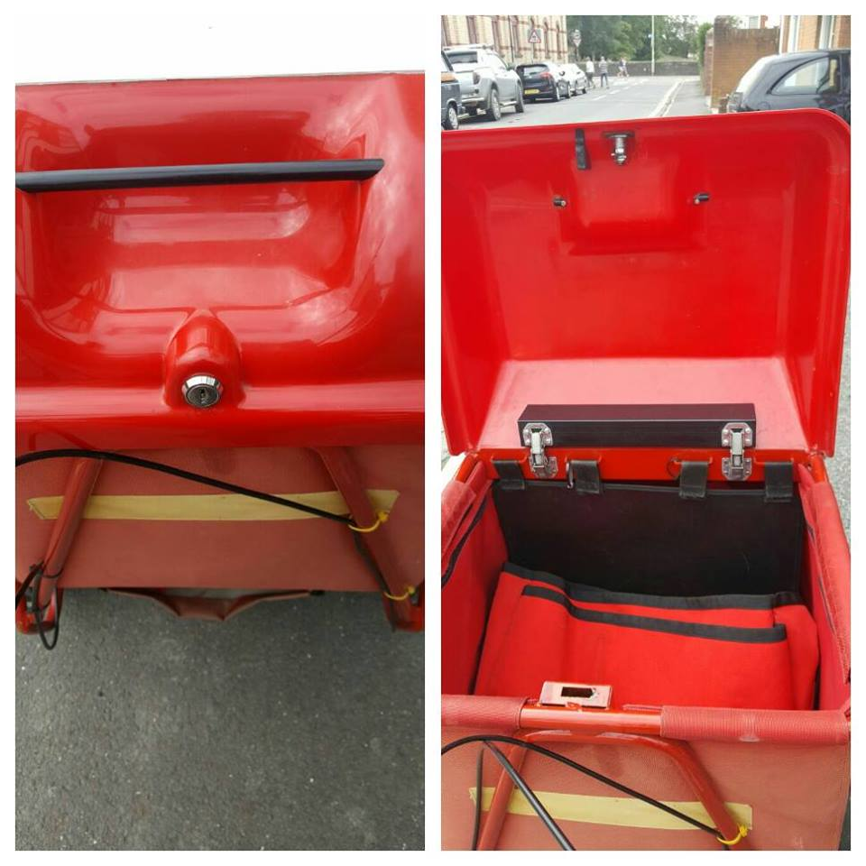 two pictures showing a red royal mail trolley, one closed and one open