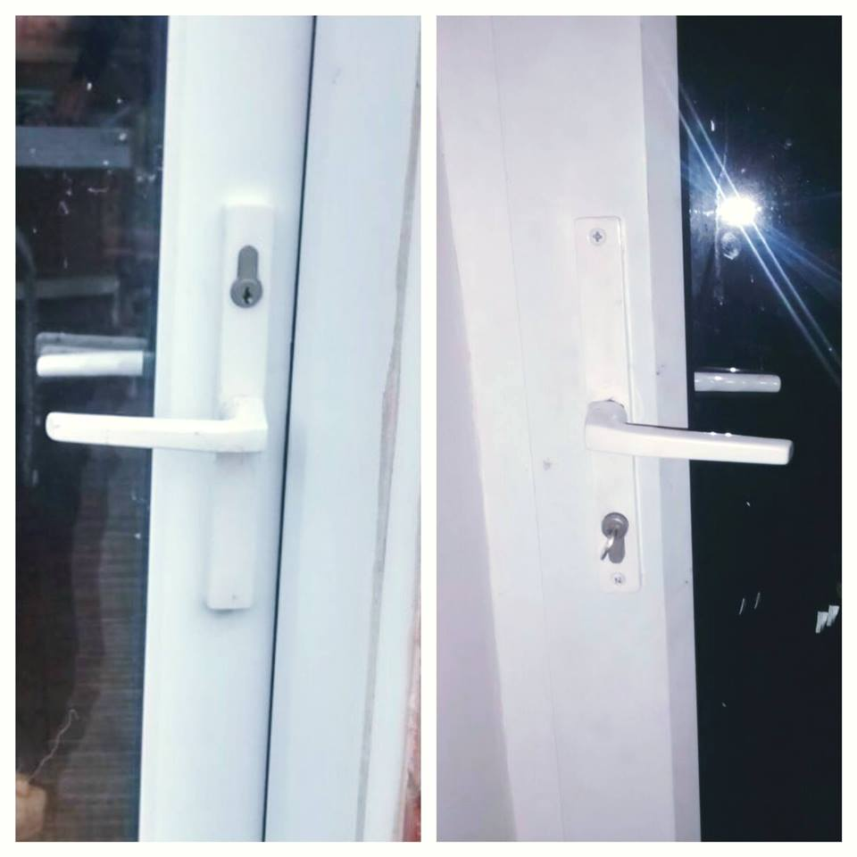 two pictures showing white handles on a upvc door, one upside down and one the right way up