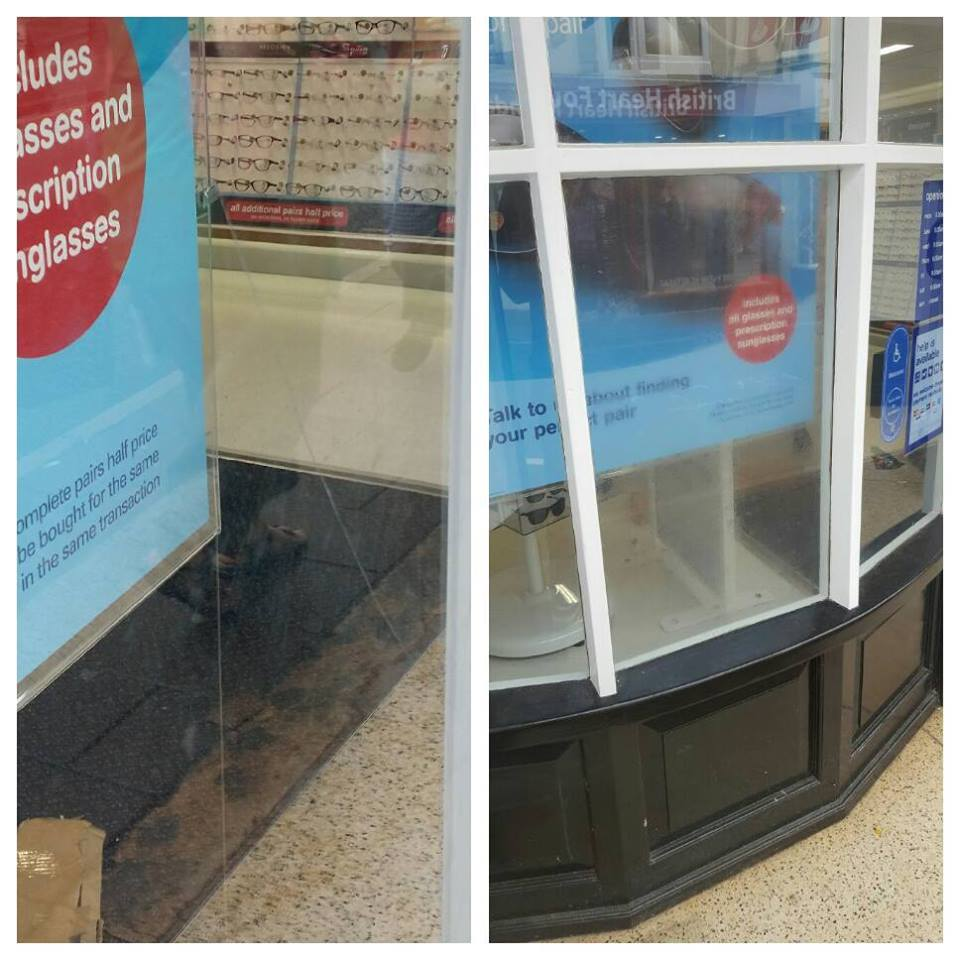 two pictures showing before and after of a window fitted with window film