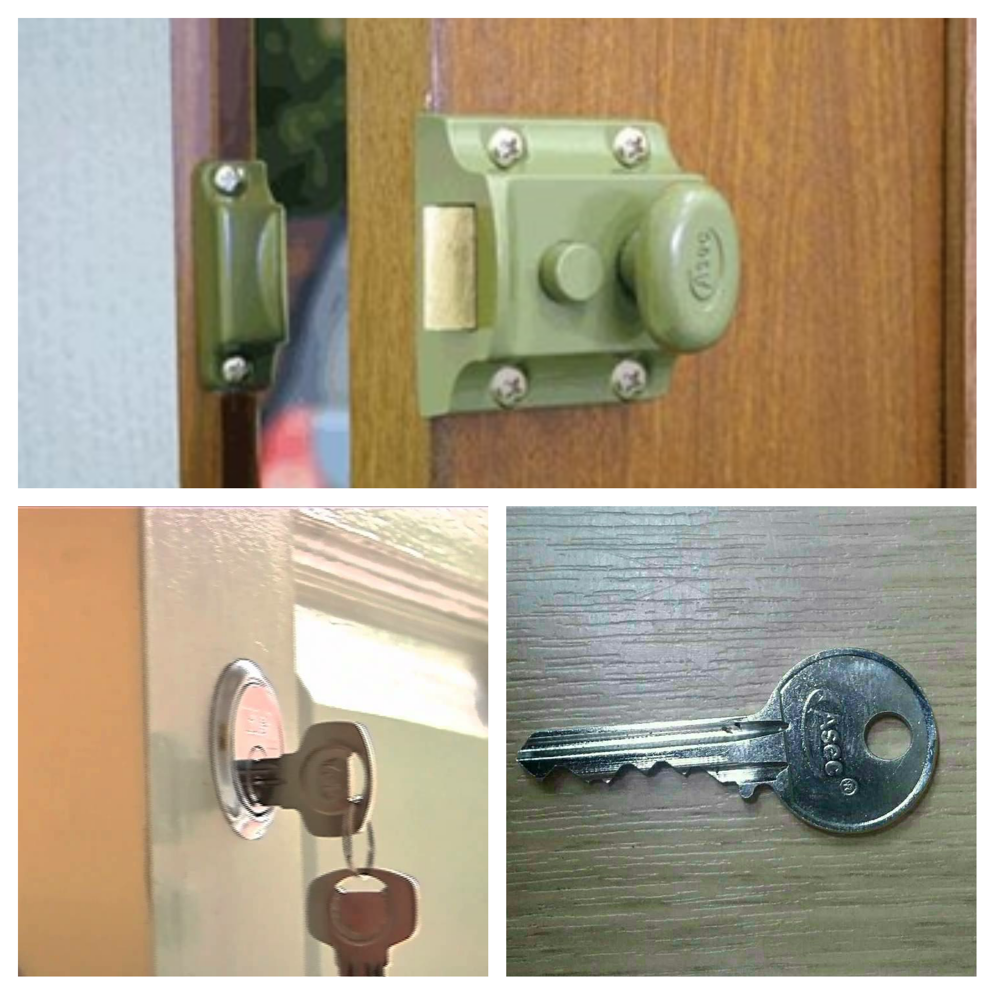 a collage of three pictures showing a green traditional night latch, a silver rim cylinder in a white door and a silver key