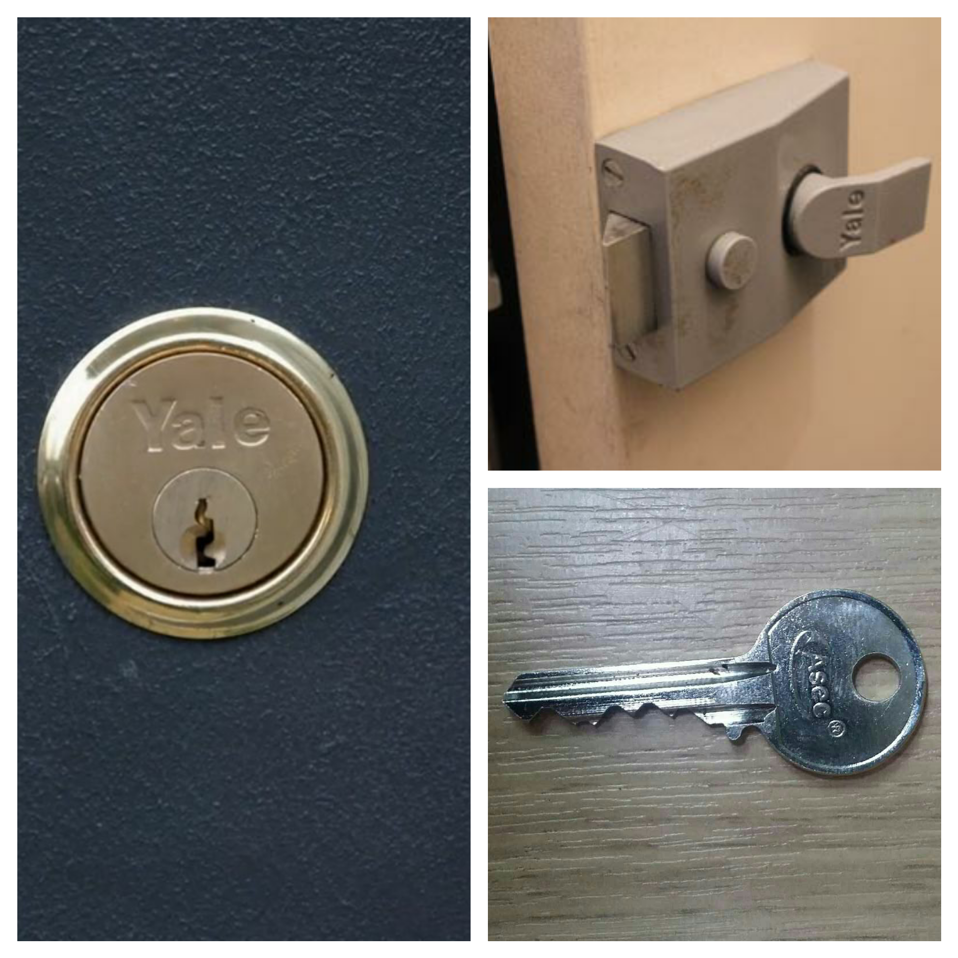 a collage of three pictures showing a grey deadlocking night latch, a brass rim cylinder in a blue door and a silver key